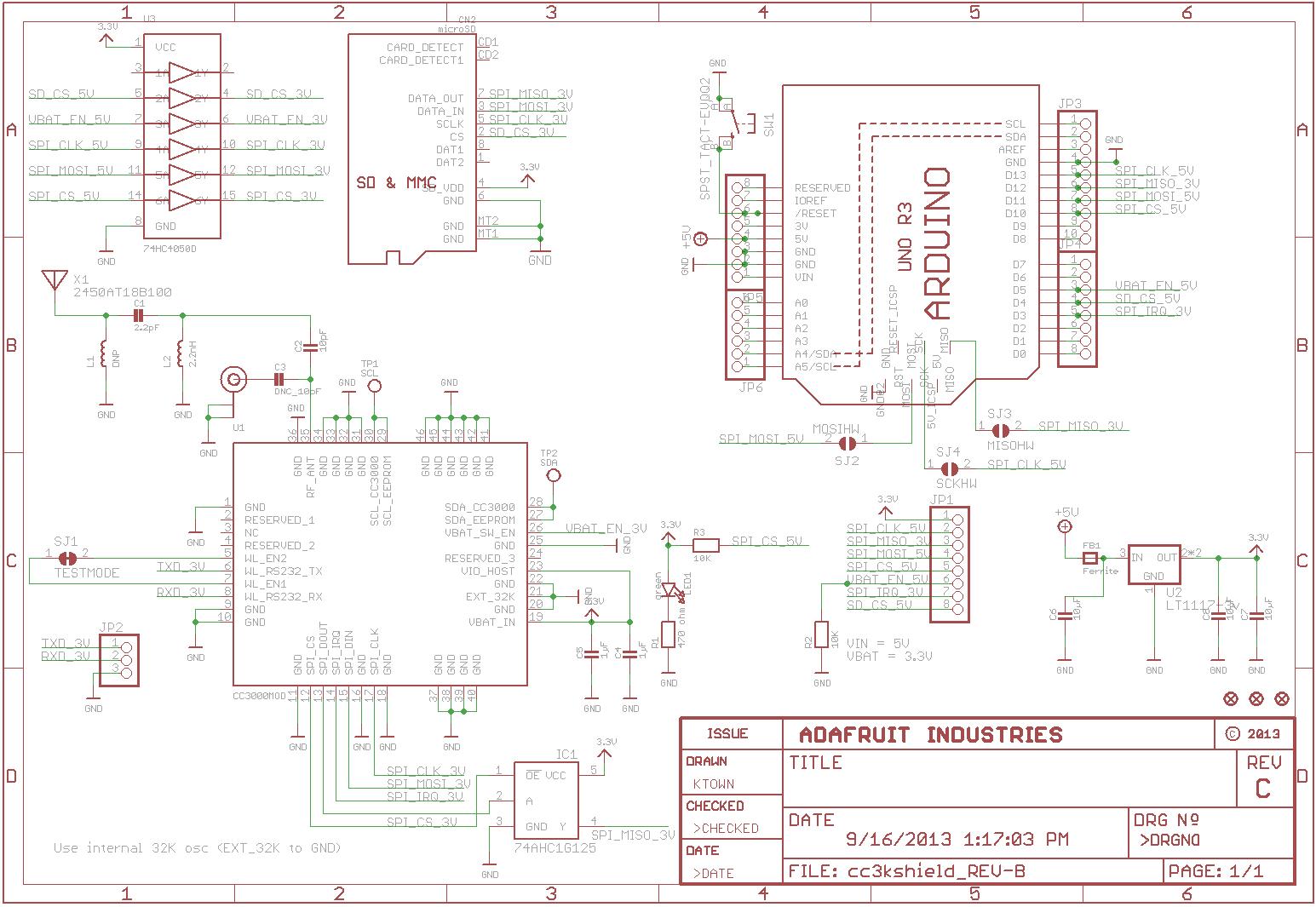 Pololu adafruit cc wi fi shield for arduino with