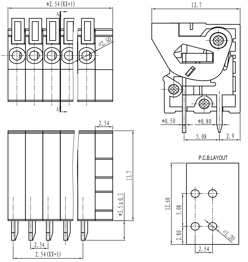 wiring diagrams for terminal blocks pololu - screwless terminal block: 6-pin, 0.1″ pitch, top ... electrical wiring diagrams for eg 75 s5