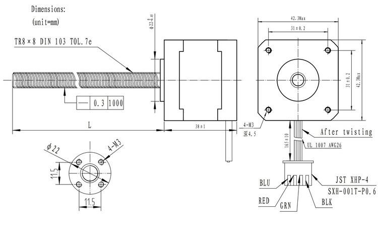 buy stepper motor with 18  28  38 cm lead screw  bipolar