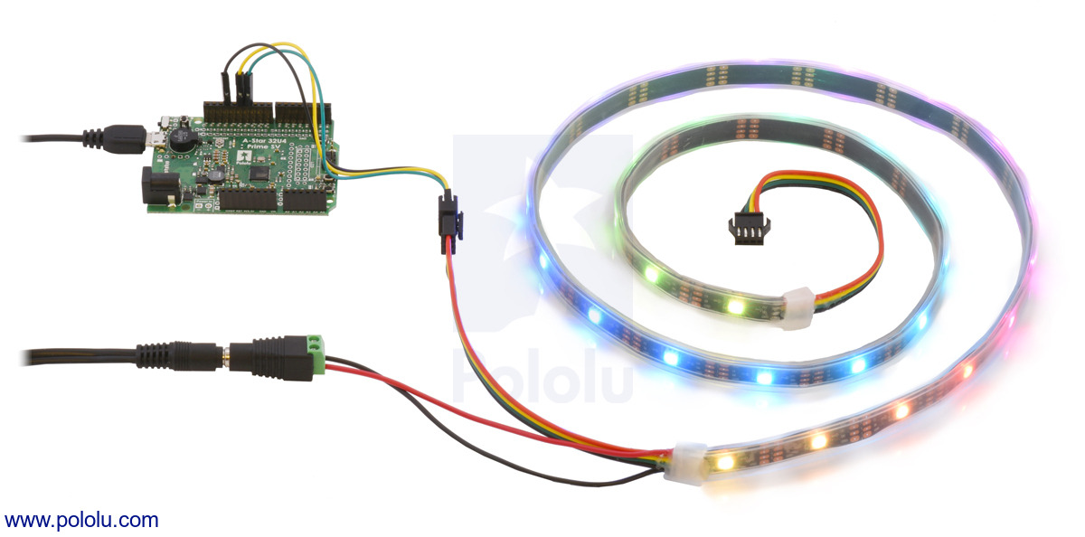 pololu addressable rgb 60 led strip 5v 1m apa102c RGB LED Wiring Diagram controlling an apa102c or sk9822 addressable rgb led strip with an a star 32u4 prime sv and powering it from a 5v wall power adapter
